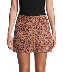 leopard-print cotton mini skirt