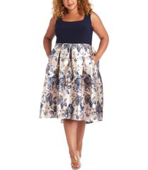 r & m richards plus size metallic-skirt dress