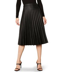 women's cupcakes and cashmere carole pleated faux leather skirt