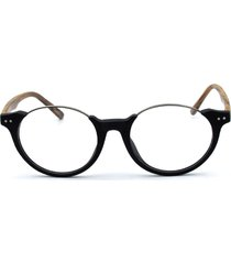 vintage mens oval round wood look eyeglass frames rx glasses spectacles retro