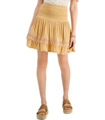 planet gold juniors' smocked crochet-trim skirt