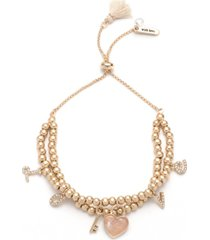 lonna & lilly gold-tone pave love charm beaded double-row slider bracelet