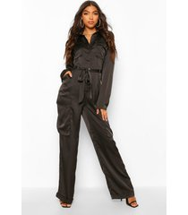 tall utility luxe cargo jumpsuit, black