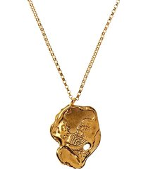 24kt gold-plated bronze rooster necklace