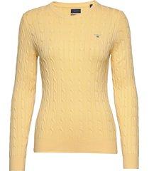 stretch cotton cable c-neck gebreide trui geel gant