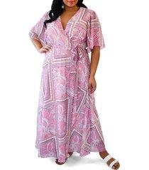 plus size women's maree pour toi print wrap maxi dress, size 14w - pink