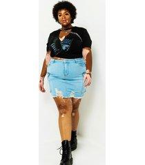 akira plus get it girl denim cargo skirt
