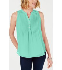 charter club sleeveless pintuck blouse, created for macy's