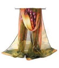 lenço de chiffon estampado aquarelado grande, echarpe.