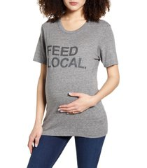 bun maternity feed local maternity graphic tee, size x-large in heather grey at nordstrom