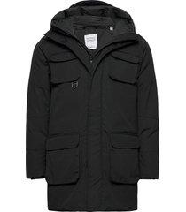 arctic canvas parka jacket - grs/ve parka jas zwart knowledge cotton apparel