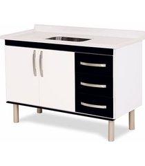 gabinete para cozinha 120cm mdp 12mm munique preto 116,2x60x49,5cm - rorato - rorato