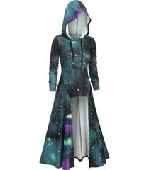 hooded galaxy print slit maxi top