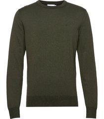 cotton silk c-neck sweater gebreide trui met ronde kraag groen calvin klein