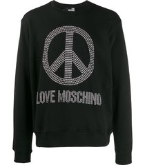 love moschino rhinestone logo sweatshirt - black