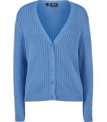 cardigan boyfriend in maglia a coste (blu) - bpc bonprix collection