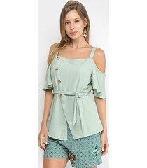 blusa allexia open shoulder amarração feminina
