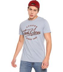 camiseta azul claro-naranja jack & jones