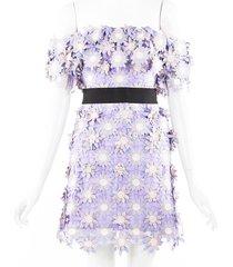 self portrait 3d floral purple cotton lace off shoulder mini dress purple/floral print sz: s