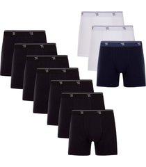 kit c/10 cueca boxer trifil algodão qe5326 t.p/eg branco/preto/azul escuro