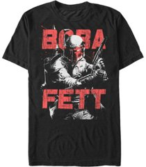 star wars men's classic boba fett splatter short sleeve t-shirt