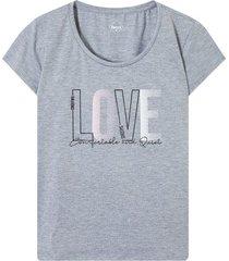 camiseta descanso love color gris, talla l