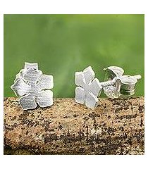 sterling silver flower stud earrings, 'cayenne jasmine' (thailand)