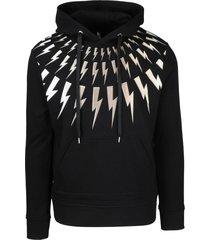 neil barrett golden fair-isle thunderbolt hoodie