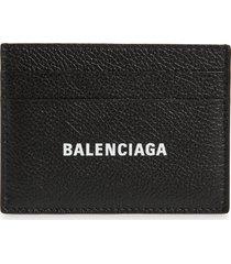 balenciaga cash logo leather card case in black/white at nordstrom