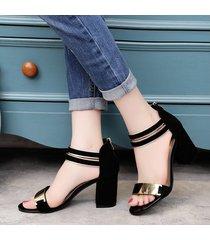 sandalias con tacones cuadrados casual para mujer-negro