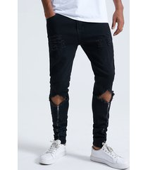 hombres rodilla ripped cremallera frontal tapered jeans