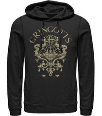 men's harry potter sorcerer's stone gringotts logo fleece hoodie