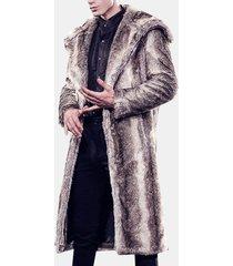 trench invernale caldo in pelliccia sintetica con cappuccio da uomo sottile giacca casual grigia grigia adatta