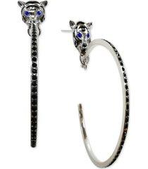 thalia sodi silver-tone pave tiger head drop hoop earrings, created for macy's