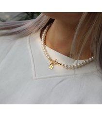 choker naszyjnik perły naturalne literka srebro