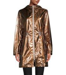 jane post women's metallic hooded anorak - bronze - size s