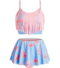 plus size jellyfish fringed flounce skort tankini swimwear