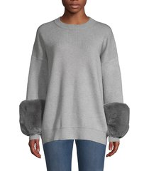 saks fifth avenue women's faux fur cuff sweater - black black - size m