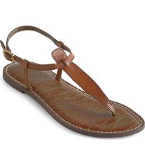 sam edelman women's gigi croc-embossed leather thong sandals - saddle - size 5