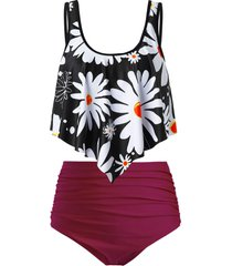 plus size flower print flounce dual strap ruched tankini swimsuit