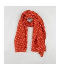 lenço feminino plissado estampado de poá cobre