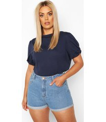 plus ruched knot puff sleeve t-shirt, navy