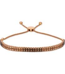 le vian ombre chocolate diamond bolo bracelet (3 ct. t.w.) in 14k rose gold