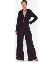 put in a little work belted wide-leg jumpsuit