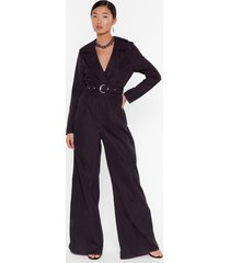 womens put in a little work belted wide-leg jumpsuit - black