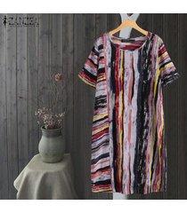 zanzea más el tamaño de vestido de la camisa de manga corta de las mujeres de la raya del vestido largo midi étnico de la vendimia -multicolor