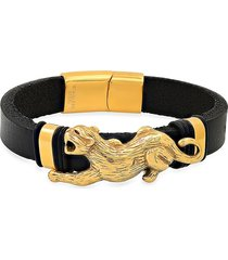 anthony jacobs men's black leather & 18k gold plated tiger bracelet