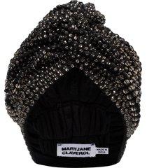 maryjane claverol jones crystal beaded turban - grey