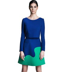 spódnica trapezowa kobaltowo-zielona