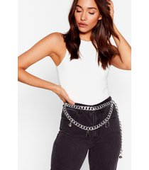 womens i'm so chained chunky padlock belt - silver
